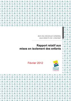 Couverture du rapport Isolement